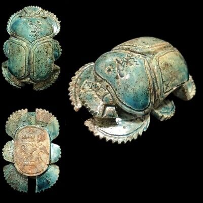 Very Rare Ancient Egyptian Blue Glazed Scarab Beetle Top Quality 300 B.c. (2)