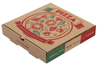 """8"""" Pizza Boxes Takeaway Fast Food Packaging Brown Printed Delivery 8 Inch Box"""