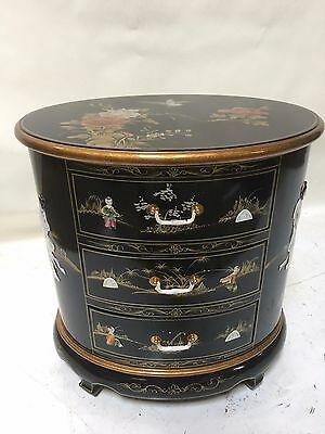 Oriental Furniture Chinese End Lamp Table Oval Black Lacquer Mother Of Pearl