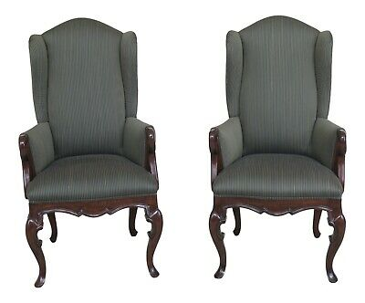 47156EC: Pair BAU Furniture Green Striped French Wing Chairs