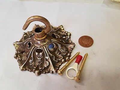 CEILING ROSE 94mm French chandelier hook OLD brass c1930 Rococo NOUVEAU stunner