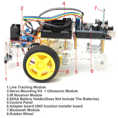 Avoidance Tracking Motor Smart Robot Car Chassis Kit 2WD Ultrasonic Arduino FEH