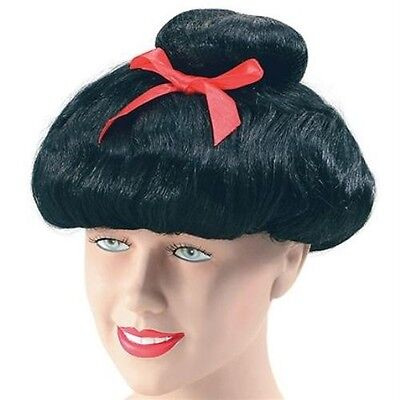 New Japanese Chinese Giesha Oriental Lady Fancy Dress Wig With Bow Adult P6171