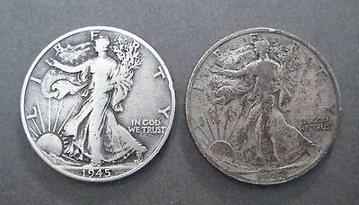 1945 & 1942 S  Walking Liberty Silver Half Dollars - * No Reserve * - (P097)