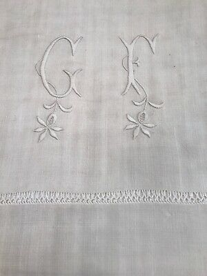 "N°9 / Superbe  Drap Brode Lin Ancien  Lin Broderie Monograme "" C F "" 200 X 320"