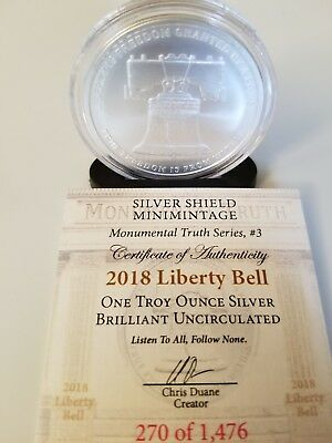 2018 Silver Shield Liberty Bell 1 oz Round BU with  COA