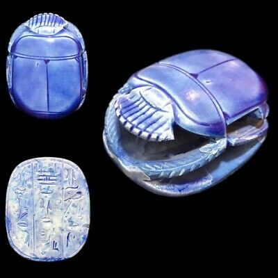 Very Rare Ancient Egyptian Blue Glazed Scarab Beetle Top Quality 300 B.c. (3)