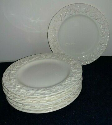 "(Set of 7) Wedgwood Queensware Embossed Cream/Ivory/White 6 1/4"" BREAD PLATES"