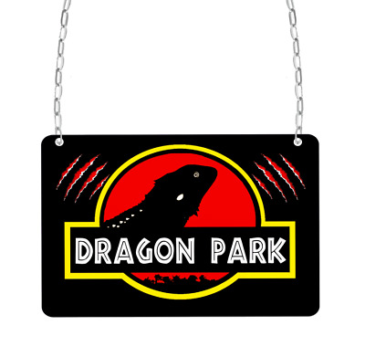 Bearded dragon park reptile jurassic mini metal cage enclosure signs aluminium