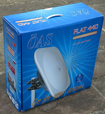 Flat 440 flat dish antenna twin LNB compact easy store caravan campers temporary