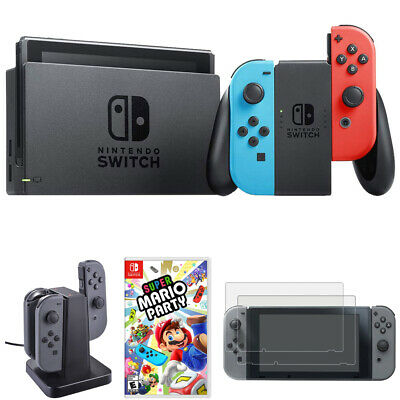 Nintendo Switch 32 GB Console, Neon Blue and Red + Super Mario Party Bundle
