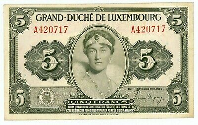 Luxembourg … P-43b … 5 Francs … 1943 … *VF-XF*.