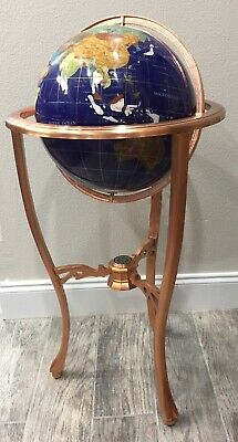 """36"""" Tall Blue Lapis Gemstone World Globe Beautiful With Copper Floor Stand NEW"""