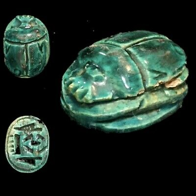 Very Rare Ancient Egyptian Blue Glazed Scarab Beetle Top Quality 300 B.c. (4)