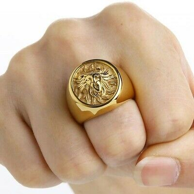 Stainless Steel Ancient Egyptian Mythology Maahes War Lion God Power Mens Ring