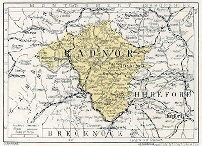 1923 Wales map: old Radnor Radnorshire ready-mounted antique print SUPERB