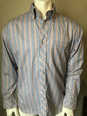 6828eaa2 TOMMY HILFIGER 80S 2 Ply Fabric Long Sleeve Shirt Mens L Button Down ...