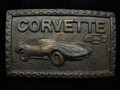 PD15113 VINTAGE 1970s **CHEVY CORVETTE** COMMEMORATIVE BRASSTONE BELT BUCKLE