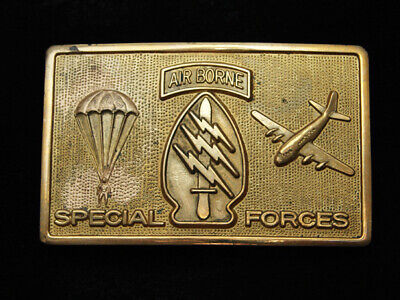 RA15131 VINTAGE 1970s *AIRBORNE SPECIAL FORCES* MILITARY SOLID BRASS BELT BUCKLE