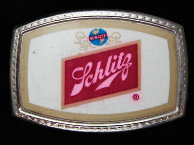 PF07149 *NOS* VINTAGE 1970s **SCHLITZ BEER** BEER BREWING CO. BOOZE BELT BUCKLE