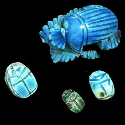 Very Rare Ancient Egyptian Job Lot Of 4X Scarab Beetles Top Quality 300 B.c.