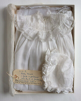 Antique hand embroidered  baby gown, petticoat and bonnet with provenence 1903