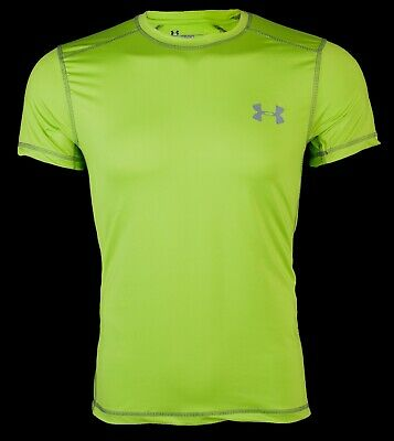 UNDER ARMOUR Mens Athletic T-Shirt SOLID LIME GREEN Semi Fitted Heat Gear $40