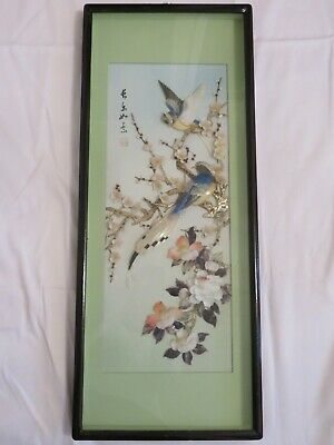 Picture, oriental, vintage, glass case birds & flowers, shells and Mother Pearl