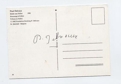 PAUL DELVAUX signed poctcard famous artist Fellini 1981 Belgian painter
