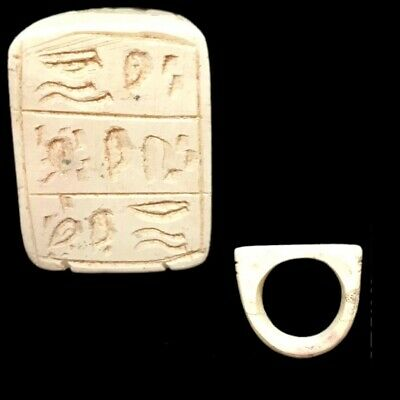 Beautiful Rare Ancient Egyptian Faience Glazed Ring With Ankh Cross 300 Bc (1)