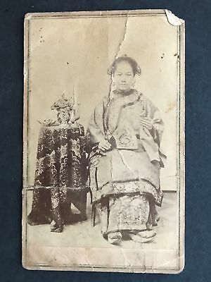 Handsome Young Chinese Stockton California Woman  1870's Cdv