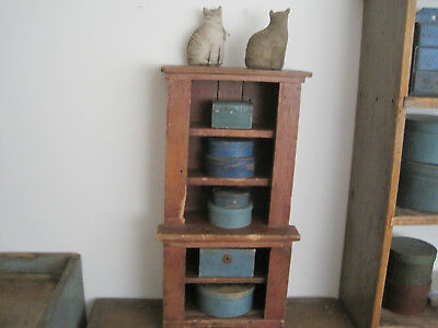 19th Century Primitive Old Red Paint Child's Wood Stepback Cupboard American