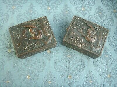 Old Antique Copper Plater Spelter Eagle Pair Trinket Jewelry Boxes Box c.1905