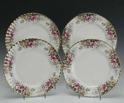 "Retired Set 4 Signed Royal Albert ""Autumn Roses"" English Bone China Dinner Plate"