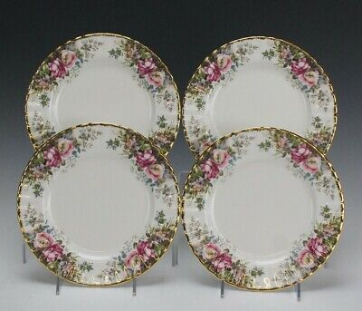 "Retired Set 4 Signed Royal Albert ""Autumn Roses"" English Bone China Salad Plates"