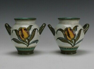 Pr Royal Zuid Gouda Holland Irene Painted Tulip Floral Art Pottery Mantle Vases