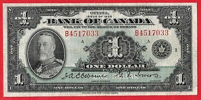 1935 $1 Bank of Canada Note English Text Letter B BC-1 - F-12