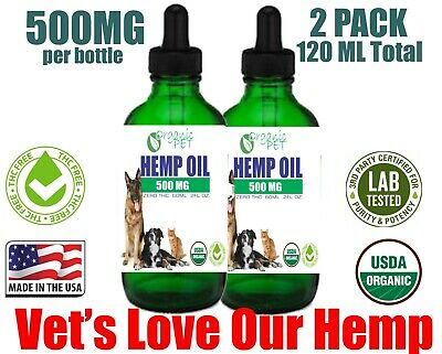 Pet Hemp Seed Oil for Dogs Cats Stress Anxiety Pain Relief 1000mg 4oz SALE 2PACK