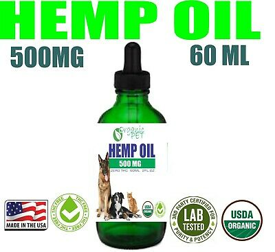 Hemp Oil for pet Dogs Cats Stress Anxiety Pain Relief 500mg 2oz SALE MADE IN US