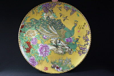 Chinese Collection Handwork Porcelain Painting Mandarin Duck Peony Beauty Plates