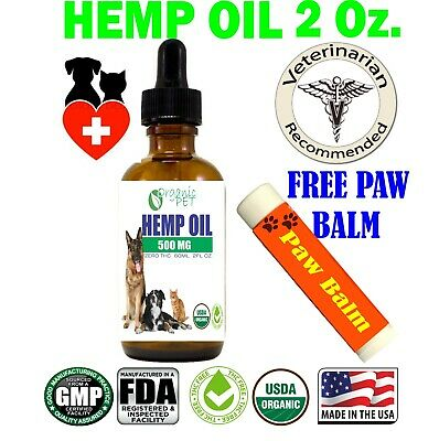 Hemp Oil Dogs Pets Organic  Stress Anxiety Pain Relief 500mg 2oz FREE PAW BALM