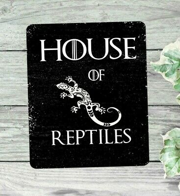 House of reptiles sign retro style hanging or fixed aluminium metal 20 x 15