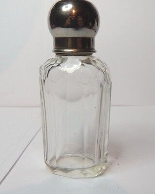 Antique Cut Glass Silver Plate Small Perfume Cologne Flask 10 x 4 cm