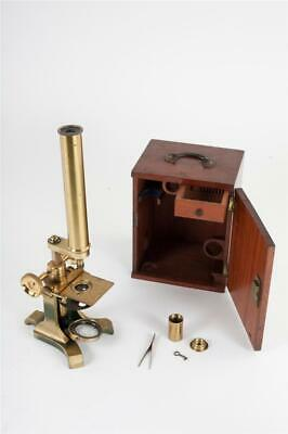 Vintage ~ c1880 ~ Brass Microscope with Case