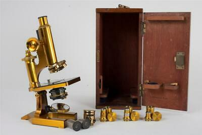 """Vintage c1900 ~ """"R & J Beck"""" Brass Microscope with Case and Accessories"""