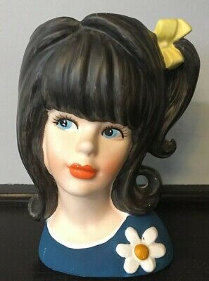"""Vintage 6"""" Unmarked Head Vase - Long Dark Haired Women With Blue Eyes"""