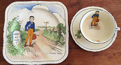 Vintage Alfred MEAKIN Dicken's OLIVER TWIST Plate & Cup n' Saucer
