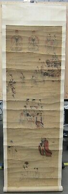 Antique Late 19th / Early 20th C Chinese Silk Mounted Scroll Painting 21x80 - 1