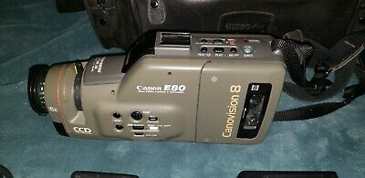 Canon E80 CCD Canovision 8 8mm Video Camera Camcorder With Accessories and Bag