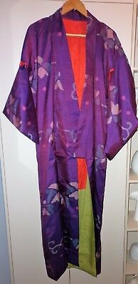 Vintage Japanese Classic Purple Silk Kimono Good Condition